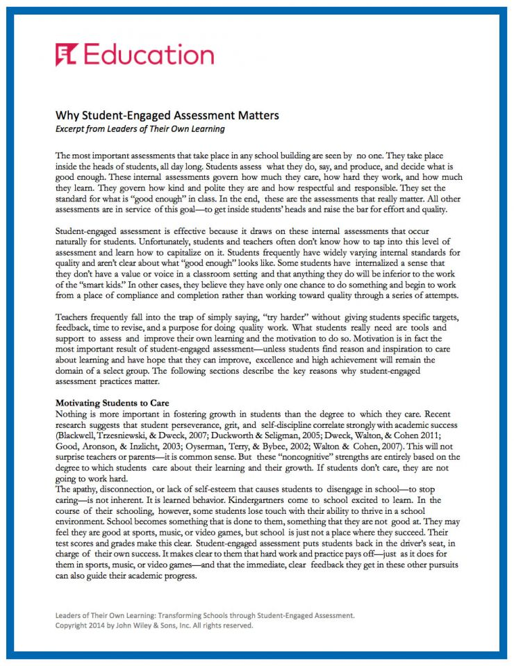 EL Education Why Assessment Matters download