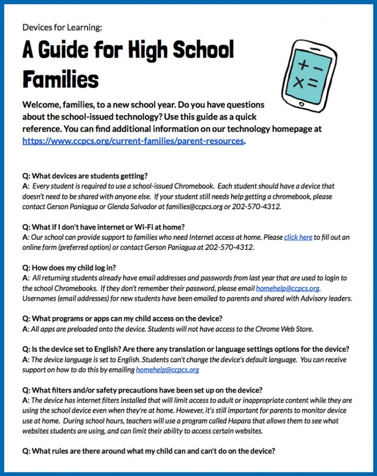 Guide for High School families
