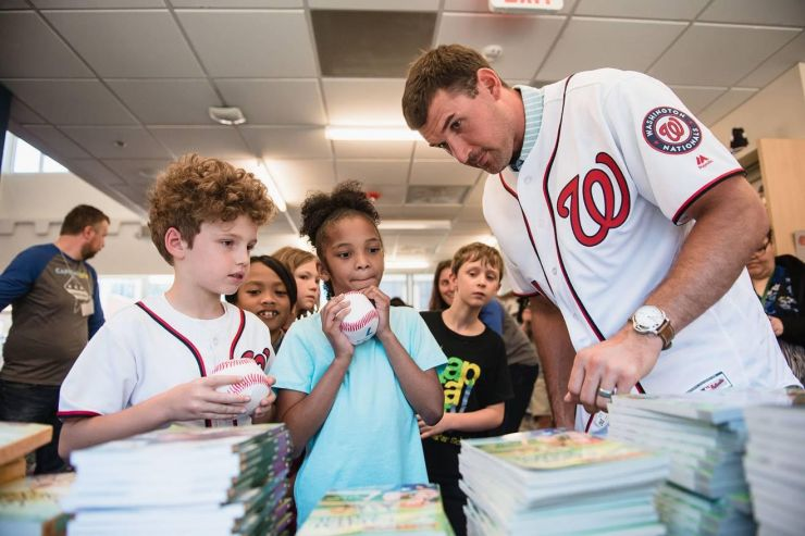 Ryan Zimmerman with Capital City students